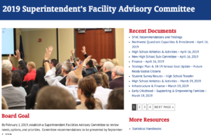 Superintendent's Facility Advisory Committee Website