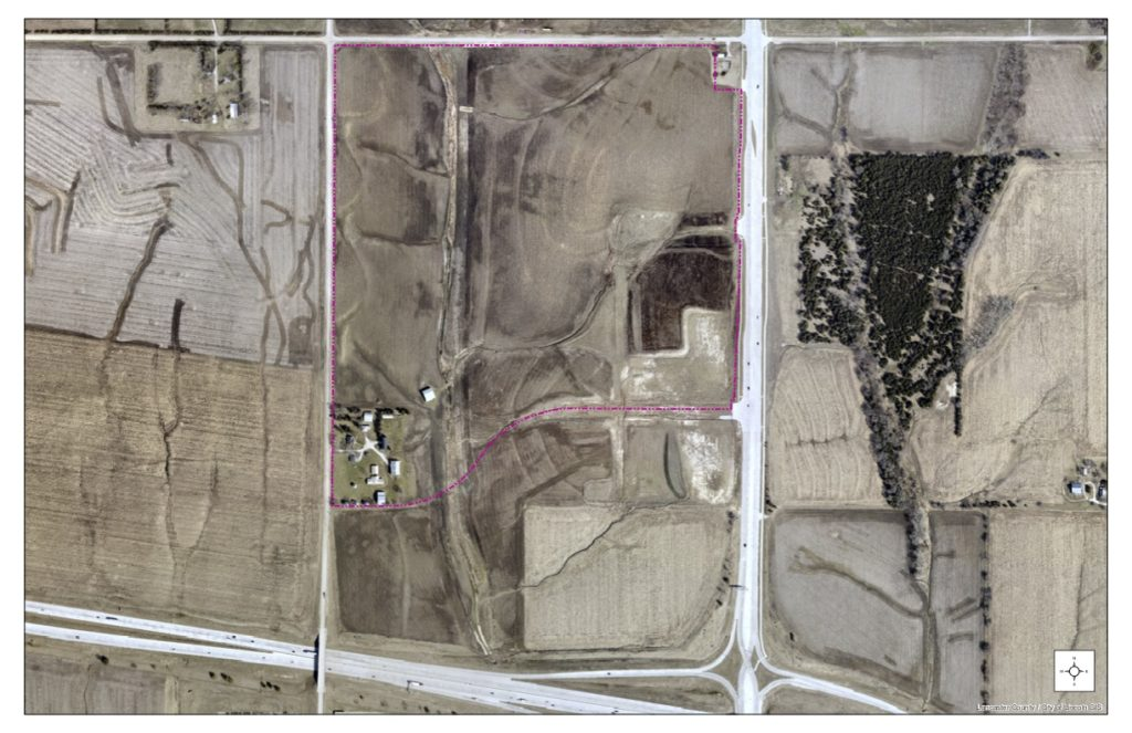 Annotated satellite imagery showing location of property for proposed new high school in West Lincoln