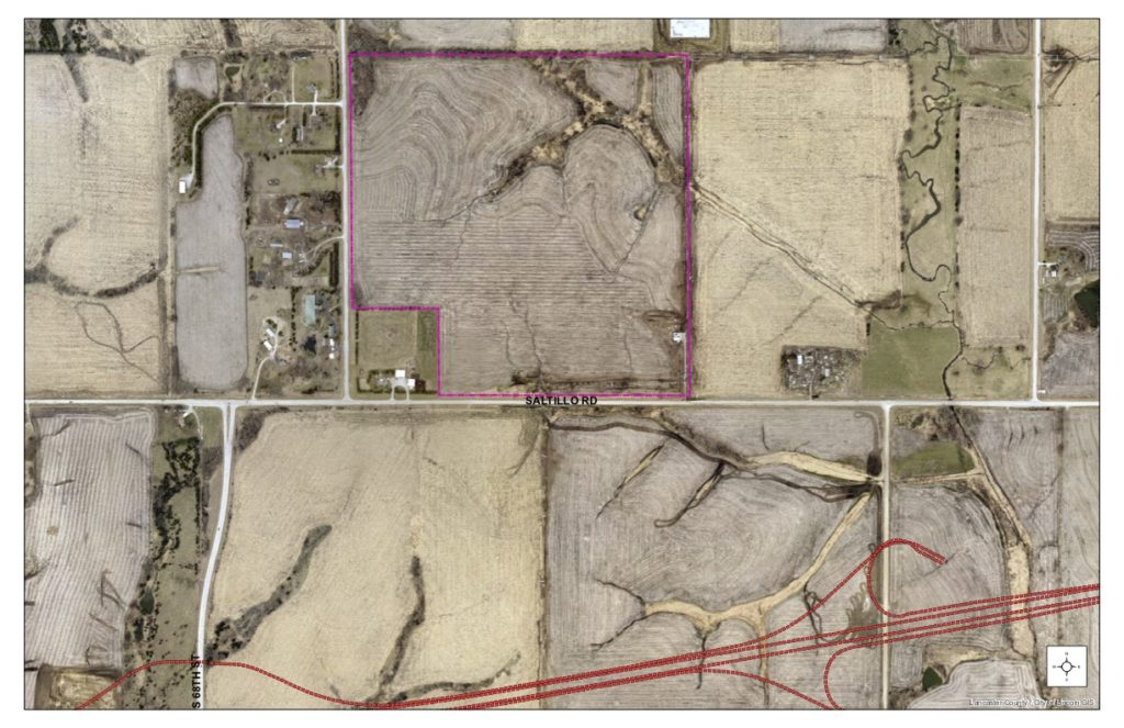 Annotated satellite imagery of proposed location for southeast high school site including location of future bypass
