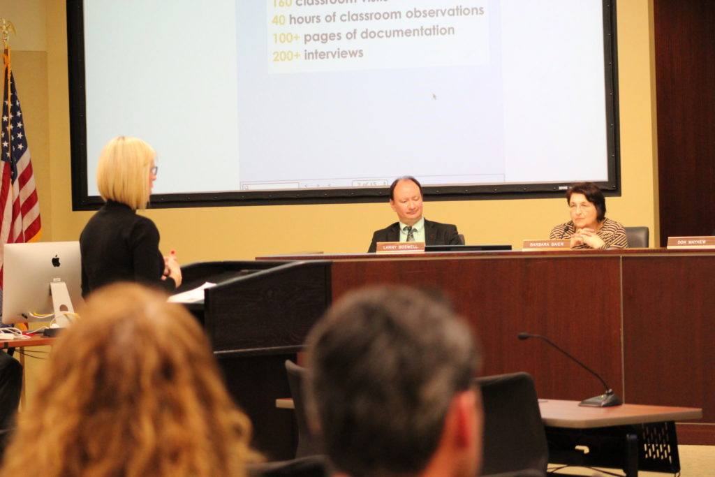 Photo of a speaker presenting a topic to the Lincoln Board of Education