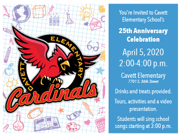 Cavett Elementary 25th Anniversary Postcard