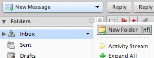 zimbra new folder