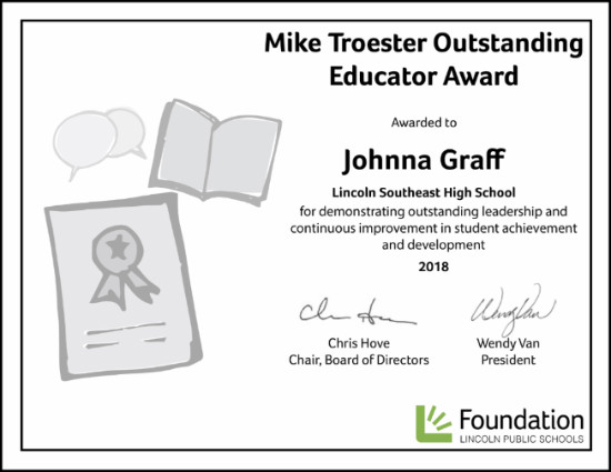 Mike Troester Outstanding Educator Awarded to Johnna Graff
