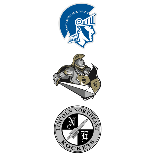 School logos for East, Southeast and Northeast High Schools