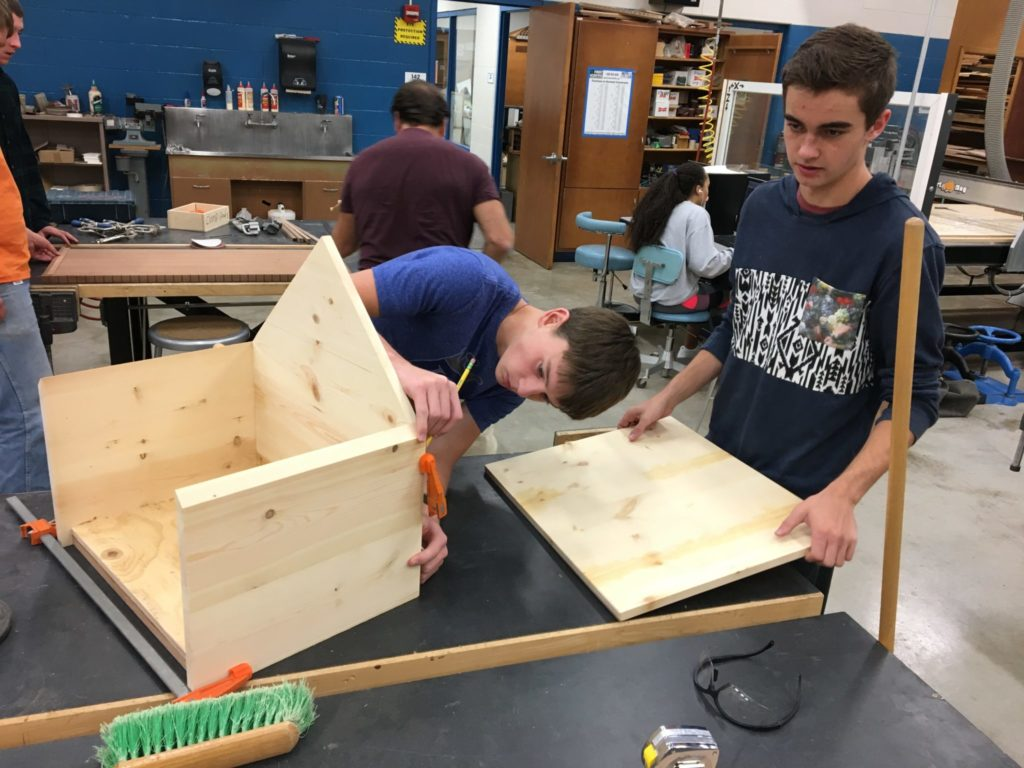 Students woodworking