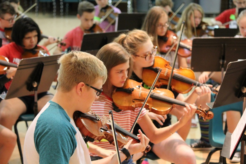 Photo of students playing at Strings Camp