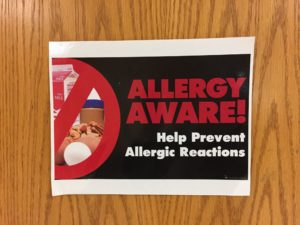 Allergy Aware sign at Pyrtle Elementary School