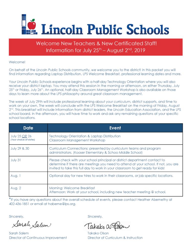 Lps 2020 Calendar LPS Professional Learning | New Teachers 2019 2020